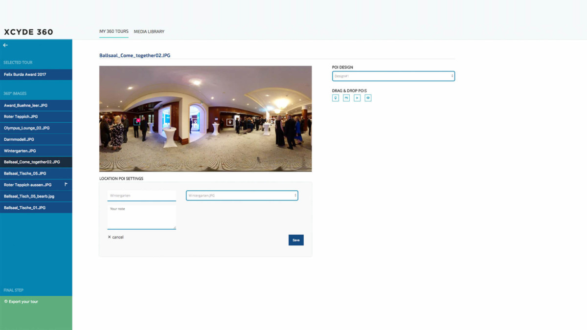 xcyde 360 grad bilder software plattform