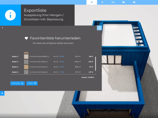 exportliste stueckliste bodenmaterial